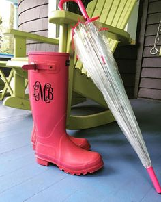 """obsessed with these!!! You may be ready to brace storm Joaquin but are your rain boots?? Order a vinyl monogrammed sticker today for your wellies!! $5.00 in 1"""", 3"""", 5"""", 10"""". Many fonts available. #thatsadornable#monogrammed#rainboots#westfieldnj#shopwhereyoulive#nearbuy#stormjoaquin#rainbootswag"""
