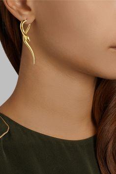 IAM by Ileana Makri|Boa gold-plated tsavorite earrings|NET-A-PORTER.COM