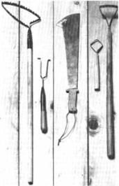 """Homemade Garden Tools from Recycled Materials ~ also:  """"Wisdom from Grandpa...make a garden tool similar to the one on the far let only use a piece of looped metal banding attached to an old rake handle (can make 2...1 long handle....1 short handle about 2' for pots, raised beds etc). It is perfect for getting in close and never cutting the plants. It is only about 2"""" wide and the loop will be about 2"""" long. it stays sharp for like eons! It is flexible and doesn't cut deep to bother any…"""