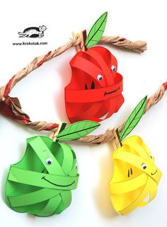 krokotak   3D Paper Apples Apple Art Projects, Projects For Kids, Autumn Crafts, Spring Crafts, Apple Activities, Activities For Kids, Blog Da Tia Ale, Preschool Arts And Crafts, Fruits For Kids