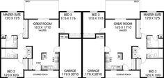 House Plans With Garage Duplex Best Ideas 3 Bedroom Floor Plan, 2 Bedroom House Plans, Garage House Plans, Small House Plans, Duplex Floor Plans, House Floor Plans, Duplex Design, House Design, Floor Plan Layout
