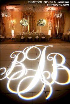 Complex monogram for dance floor - The Carolina Inn, Chapel Hill; Simpsound DJ & Lighting Services, www.simpsound.com