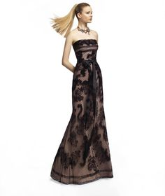 Pronovias presents the Zayas cocktail dress from the 2013 Long collection. Black lace bridesmaids dress