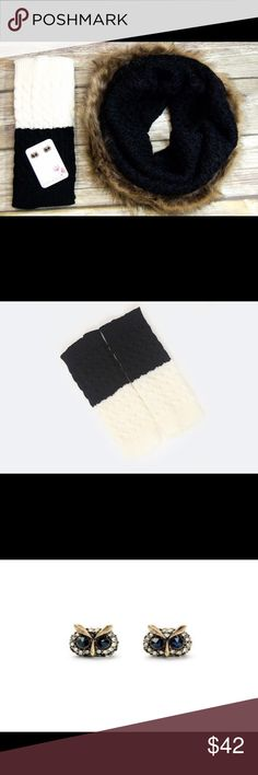 chic holiday accessory set | black holiday accessory sets are NEW to our collection! this one includes our fur trim knit infinity scarf in black with our reversible black/ivory boot cuffs and super cute owl studs. grab this set at 45% off a $75 value! not exactly what you're looking for? check out our other holiday sets; choose from several different hand-selected sets featuring our scarves, jewelry, boot socks, and more!                                                                 find…