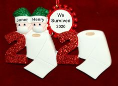 Personalized COVID19 Christmas Ornament Couple 2020 | RussellRhodes.com Baby Ornaments, Personalized Christmas Ornaments, Easy Gifts, Great Gifts, Perfect Christmas Gifts, Christmas Tree, Packaging Services, Sticker Removal, Drawstring Pouch