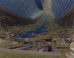 Space Colony Artworks credited to NASA Ames Research Centre I love Science Fiction. Space Colony, Psychedelic Space, Illustrations Vintage, 70s Sci Fi Art, Psy Art, Futuristic City, Futuristic Design, Science Fiction Art, To Infinity And Beyond