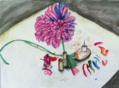 drawn from life 'masked nature' still life watercolour and oil pastel