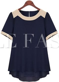 High Quality PLUS SIZE Short Sleeve Patchwork Chiffon Blouse for Summer Fashion, Office, Etc. XL-6XL 2 Colors