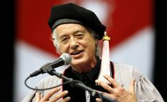 Former Led Zeppelin guitarist Jimmy Page speaks during the commencement of the Berklee College of Music in Boston on May Page was awarded an honorary doctorate. Led Zeppelin Guitarist, Boston Music, Music Colleges, Berklee College Of Music, I Ching, Greatest Rock Bands, Jimmy Page, Charmed, James Patrick