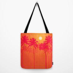 Palm Trees - Pink, Orange, Yellow, Halftone Tote Bag