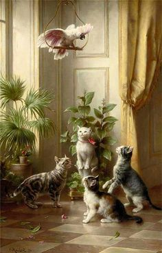 Cats and a Cockatoo Carl Reichert Private Collection. Cats and a Cockatoo