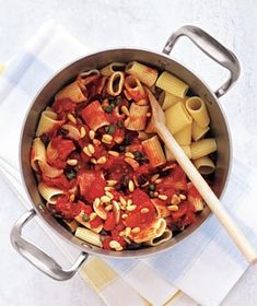 Rigatoni With Tomatoes, Raisins, and Pine Nuts recipe from realsimple.com #myplate
