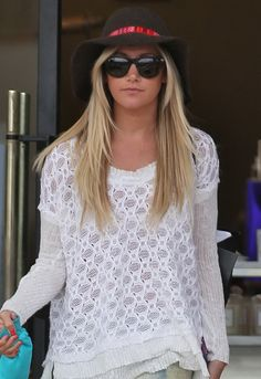 Lovely Bird Lazy Fedora in Brown with Red Trim - as seen on Ashley Tisdale  Loving the hat and the top
