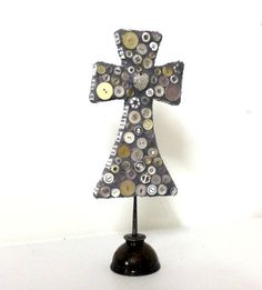 Cross Mosaic Assemblage upcycled oil can - rusty chic sculpture found object art