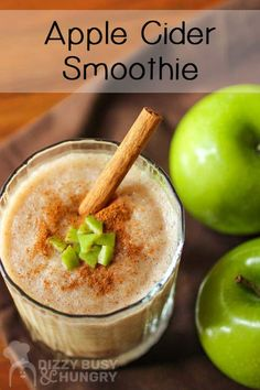 Apple Cider Smoothie - A sweet tart cinnamon-y and refreshing treat perfect for a lazy autumn afternoon! Apple Cider Smoothie - A sweet tart cinnamon-y and refreshing treat perfect for a lazy autumn afternoon! Apple Smoothie Recipes, Apple Smoothies, Strawberry Smoothie, Apple Recipes, Healthy Smoothies, Fall Recipes, Drink Recipes, Delicious Recipes, Nutribullet Recipes