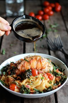 food52:  Brown butter. Lobster. That is all.Brown Butter, Lobster, Bacon + Crispy Kale and Fontina Pasta on Half Baked Harvest
