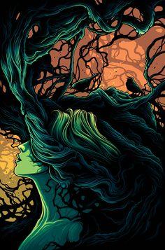 The Geeky Nerfherder: Cool Art: 'Woodland' by Dan Mumford Dark Fantasy Art, Dark Art, Necronomicon Lovecraft, Dan Mumford, Pop Culture Art, Psychedelic Art, Illustrations, Vampires, Norse Mythology