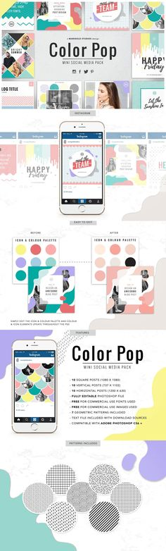 #Freebies : The Color Pop Social Media Pack is a fun and bold social media pack #design inspired by the Memphis Trend & Pop #Art Inspired Designs. ( #eCommerce #business #promotion #webdesign )