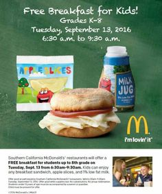 Back-to-School Free Breakfast for Kids K-8th Grade at Southern California…