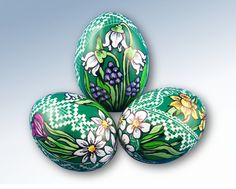 Easter Eggs - Pysanky, hand painted decorative Chicken egg pysanka