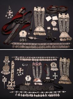 Chile | Mapuche silver jewellery | Source unknown Tribal Jewelry, Beaded Jewelry, Silver Jewelry, Silver Shamrock, Argentine, Tribal Fashion, Jewel Box, Art Classroom, American Jewelry