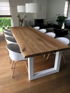 50 Beautiful Scandinavian Dining Room Design Ideas - Now it is easy to dine in style with traditional Swedish dining chairs. Entertain friends as well as show off your wonderful Swedish home furniture. Dining Table Design, Dinning Table, Dining Area, Dining Chairs, Oak Table, Rustic Table, Patio Table, Room Chairs, Fine Dining
