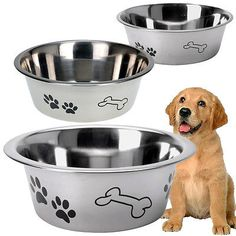 Stainless #steel metal dog pet bowl puppy animal food #water small #medium large,  View more on the LINK: http://www.zeppy.io/product/gb/2/252241141424/