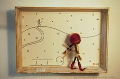Needle felted figurines, fairies, in 3D frame - WINTER (seasonal)