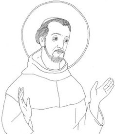 St. Francis of Assisi Catholic coloring page printable.  Feast day is October 4th.