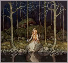 John Bauer, The Princess in the Forest (oil painting, not from an illustrated book)