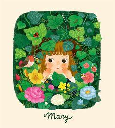 little girl in the flowers illustration