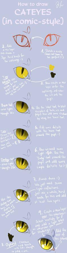 Cat Eye Tutorial (comic-style) by Mizu-no-Akira on deviantART