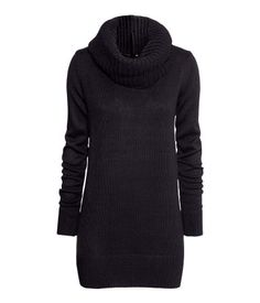 Long knit sweater with rib-knit cowl neck. ONLINE EXCLUSIVE.