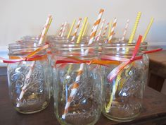 pink yellow orange coral paper straws mason jars baby shower girl beve paper straws www.beve.co