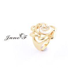 Encontre mais Anéis Informações sobre 2016 New Arrivals 14 K banhado a ouro anel branco em forma de concha rosa elegante para Bijoux Femme como presente de aniversário, de alta qualidade Anéis de June Flower em Aliexpress.com