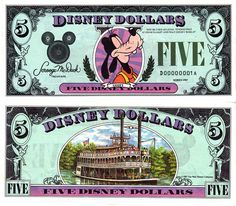 1991 brought no change to the world of Disney Dollars, this style became the standard for Disney Dollars. Disney World Restaurants, Disney World Resorts, Disney Vacations, Disney Trips, Disney Travel, Dream Vacations, Goofy Disney, Disney Pixar, Walt Disney