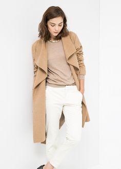 Lapels wool-blend coat - Women | MANGO