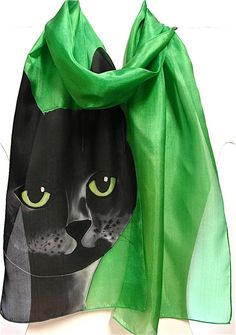Hand painted silk scarf with catHandmade green silk by EwaGrol, zł129.00