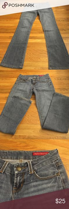 "Seven 7 Jeans ""Regular Bootcut"" inseam 31"" Great condition. Some wear on seat and back  of one hem and minimal wear (barely visible) at knees. These flaws are not visible when worn and they have loads of life left. Flattering stretchy fit. Inseam 31"".  Leg opening 8"".  Back rise 11.5"". Front rise a little over 8"". Seven7 Jeans"