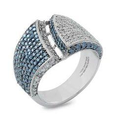 #Malakan #Jewelry - Platinum-Silver Treated Blue Diamond Ladies Ring 88104C2…