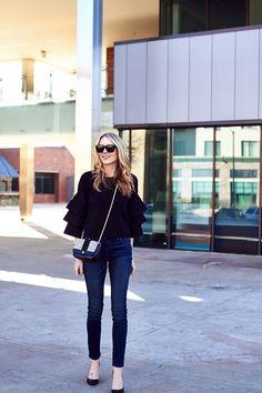 New Year's Eve Outfit, Embellished Handbag, Black Ruffle Sleeve Top, Denim Skinny Jeans, Black Pumps