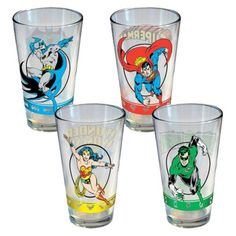 These are awesome DC Comics/JLA pint glasses that feature Garcia Lopez art, but I'm not sure if I'd want to bust out $20 for them.