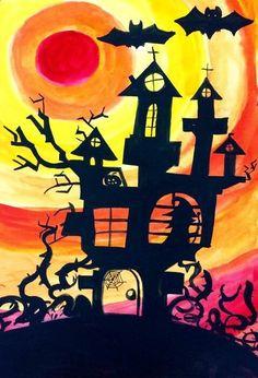 Mooi voorbeeld van een spookhuis silhouet. #Halloween #tekening