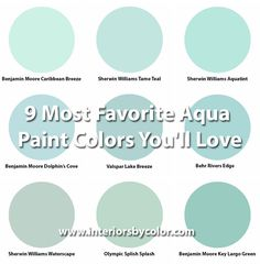 9 Most Favorite Aqua Paint Colors You'll Love http://www.interiorsbycolor.com/ aqua turquoise paint color palette