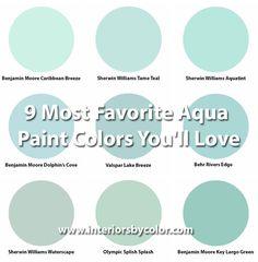 9 Most Favorite Aqua Paint Colors You'll Love www.interiorsbyco… aqua turquoise paint color palette Source by WandaHollis Turquoise Paint Colors, Coastal Paint Colors, Turquoise Painting, Room Paint Colors, Interior Paint Colors, Paint Colors For Home, House Colors, Aqua Color, Bedroom Turquoise