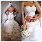 New Sweetheart Ruffled White/Ivory Lace Mermaid Bridal Wedding Dress Size6 8 10