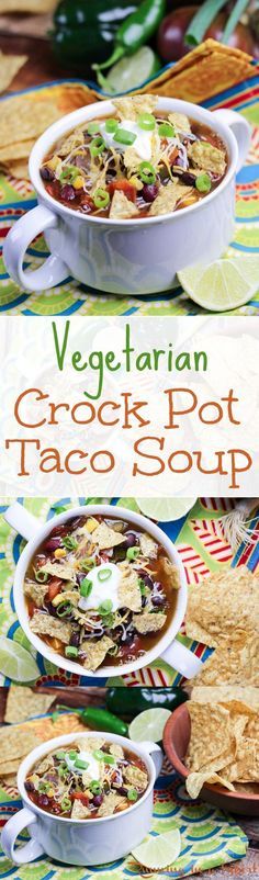 This super simple Vegetarian Taco Soup Crock Pot Recipe is the perfect weekday meal. Course: Crock Pot, Vegetarian Cuisine: Mexican In. Slow Cooker Recipes, Cooking Recipes, Soup Recipes, Recipes Dinner, Cream Recipes, Recipies, Dessert Recipes, Shrimp Recipes, Easy Desserts