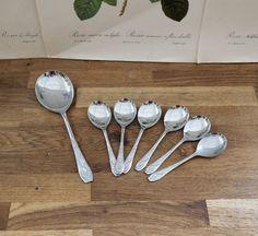 Vintage set of 6 Dessert Forks and Server ,Original Box, shabby chic, retro , boho, kitchenware, Chrome Plate by Route46Vintage on Etsy