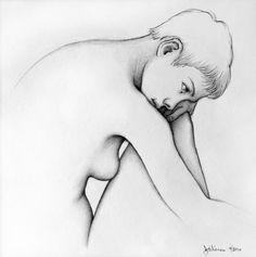"Jeffrey Wiener, ""Seated Nude, Leah close"" (Pencil on paper, 8"" x 8"")"