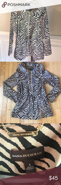 "Dana Buchman Zebra Print Jacket Perfect for the fall! Draw strong waist and gold detailing.  Shoulder to hem 27""; Pit to put 18"". Dana Buchman Jackets & Coats"